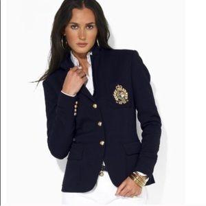 Lauren Ralph Lauren Navy Wool Crest Blazer